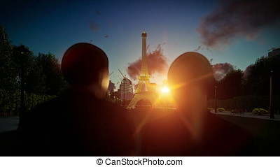 Eiffel Tower in Paris at sunset, romantic couple