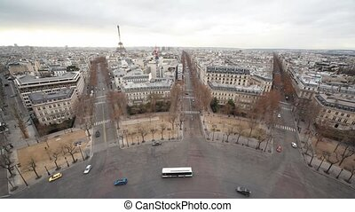 Eiffel Tower in Paris city, view from Triumphal Arch