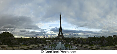 Eiffel Tower in Paris, France (panoramic view)