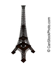 Eiffel Tower in Paris isolated on a white