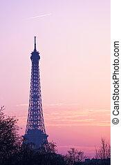 eiffel tower in Paris on pink sunset
