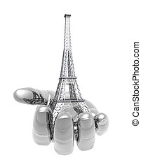 Eiffel Tower in Paris on the hand isolated on a white