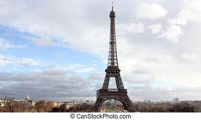 Eiffel Tower in Paris. Time Lapse.