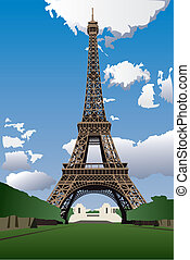 Eiffel tower in Paris - Vector illustration of Eiffel Tower...