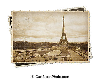 Eiffel tower in Paris vintage sepia toned postcard isolated on white