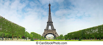 Eiffel tower in Paris with central perspective.