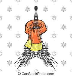 Eiffel tower in scarf