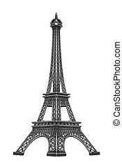 Eiffel tower isolated. - Eiffel tower isolated on white...