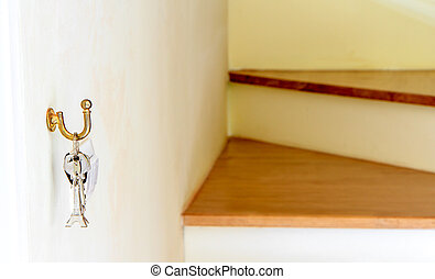 Eiffel Tower keys and wood stairs background