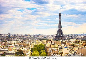 Eiffel Tower landmark, view from Arc de Triomphe. Paris, France.