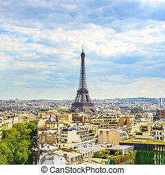 Eiffel Tower landmark, view from Arc de Triomphe. Paris cityscape. France, Europe.