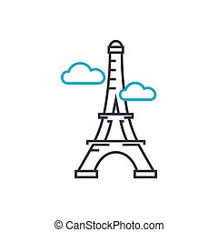 Eiffel tower linear icon concept. Eiffel tower line vector sign, symbol, illustration.