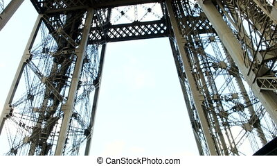 Eiffel tower metal construction. Shot from inside. Paris,...