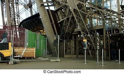 Eiffel tower metal construction. Shot from inside. Paris, France.