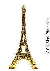 Eiffel tower minature isolated in white