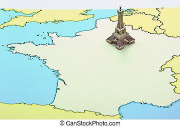 Eiffel Tower miniature on map
