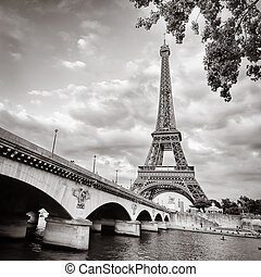 Eiffel tower monochrome view with river and bridge, Paris, ...