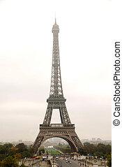 Eiffel tower on a foggy day in Paris France