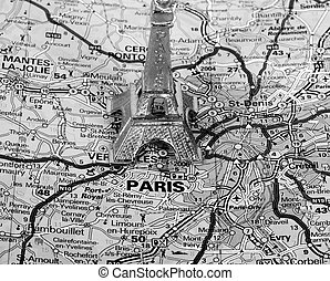 Eiffel Tower on a map of Paris