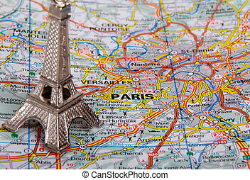 Eiffel Tower on a map of Paris (short focus)