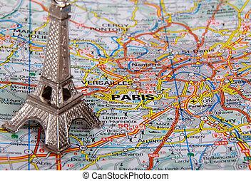 Eiffel Tower on a map of Paris (short focus)