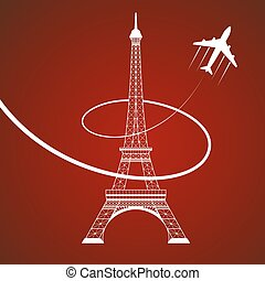 eiffel tower on red - Icon of Eiffel tower and plane on red...