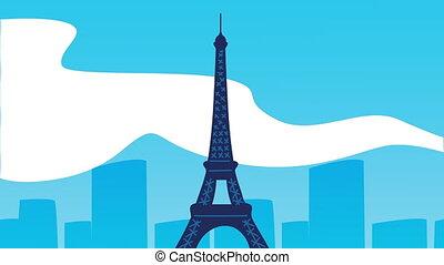 eiffel tower on the paris city ,4k video animation