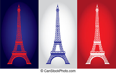 eiffel tower over france flag background. vector...