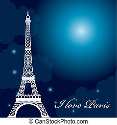 eiffel tower over night with stars and moon. vector...