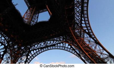 Eiffel Tower. Pan shot. - Wideangle handheld pan shot of the...