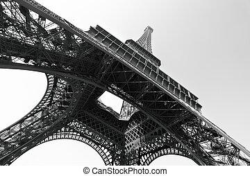 Eiffel tower, Paris, France. Black and white image/