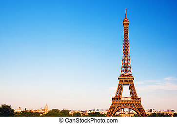 Eiffel Tower, Paris, France - Eiffel Tower, the city in the...