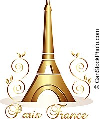 Eiffel Tower Paris-France gold vector background