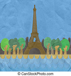 Eiffel tower, Paris. France in stitch style on paper texture background
