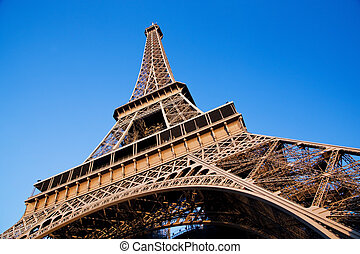 Eiffel Tower, Paris, France - Eiffel Tower at wide angle....