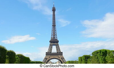 """eiffel tower, paris, france, timelapse, zoom in, 4k"""