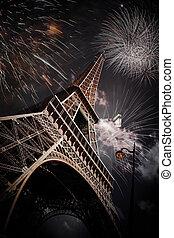 Eiffel tower (Paris, France) with fireworks - Celebrating...