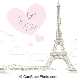 Eiffel Tower Paris Love - Line drawing illustration of...