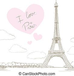 Eiffel Tower Paris Love - Line drawing illustration of ...