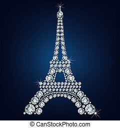 Eiffel tower - Paris made up a lot of diamonds on the black ...