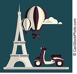 Eiffel Tower Paris scooter Air Balloon Clouds vector/illustration
