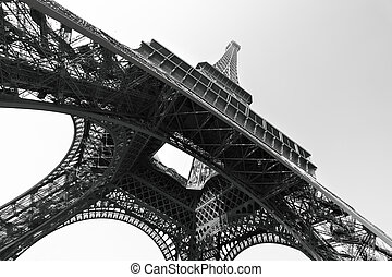 Eiffel tower, Paris, France. Black and white image/