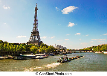 Eiffel Tower on the bank of river Seine