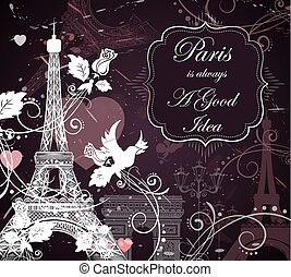 Eiffel tower, romantic background - Romantic background with...