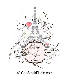 Eiffel tower, romantic background