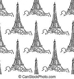 Eiffel Tower seamless background pattern
