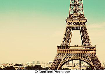 Eiffel Tower section, Paris, France - Eiffel Tower middle...