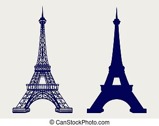 Eiffel tower silhouette and sketched icons - Eiffel tower...