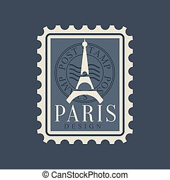 Eiffel Tower silhouette on postage stamp of France. Symbol...