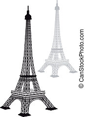 Eiffel tower silhouette, vector